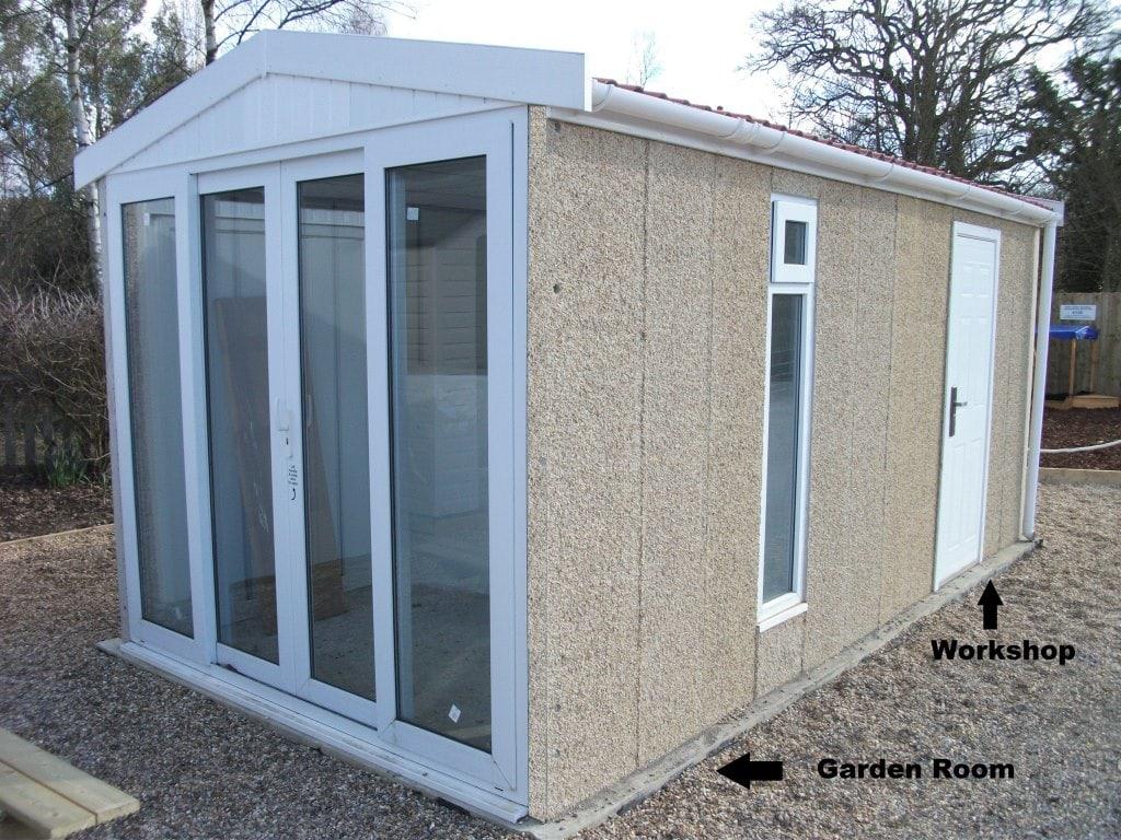 Leosheds unique range of concrete sheds for Combi garden room